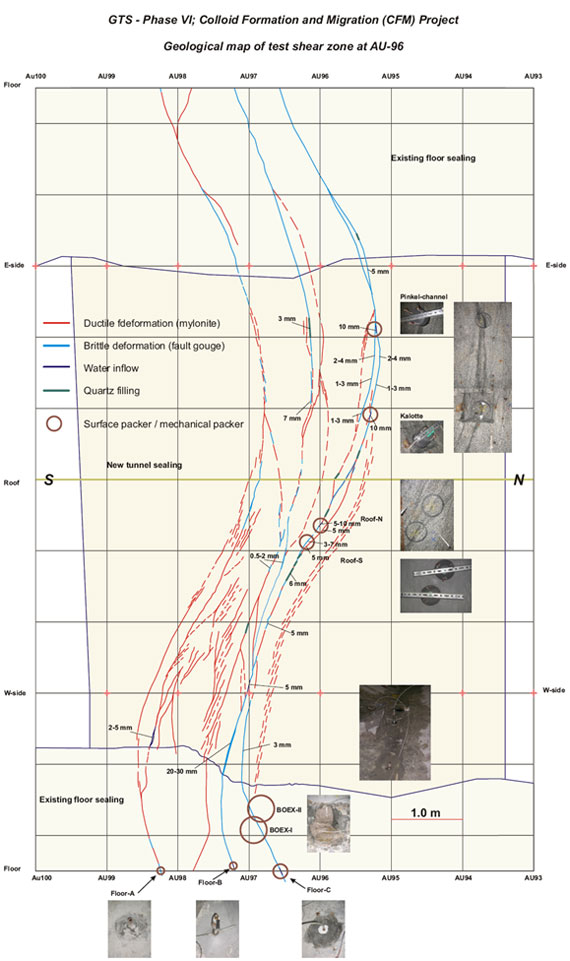 Detailed geological mapping of the test shear zone between tunnel meters AU93 and AU100 with surface-packer locations