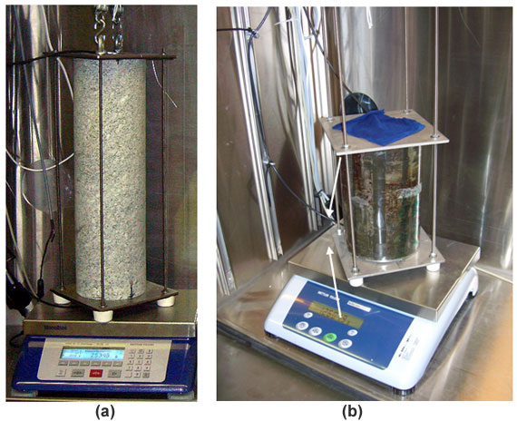 Photographs of a granite overcore from GTS (a) and an Opalinus clay overcore from Mont Terri URL (b) standing on a balance inside the drying chamber at GTS