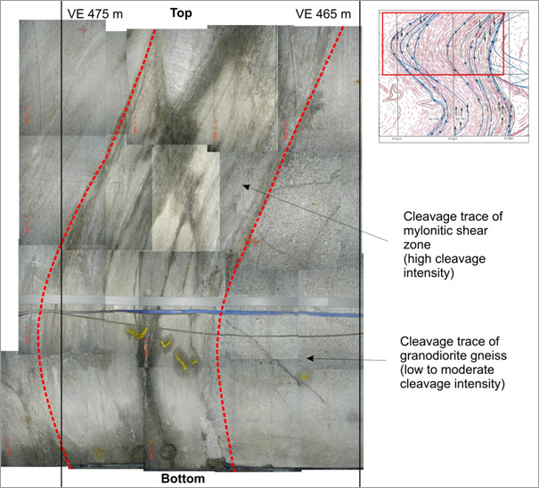 Figure 2: Photograph of VE shear zone in the VE tunnel between VE 465 m and VE 475 m (view towards western side, GMT side)